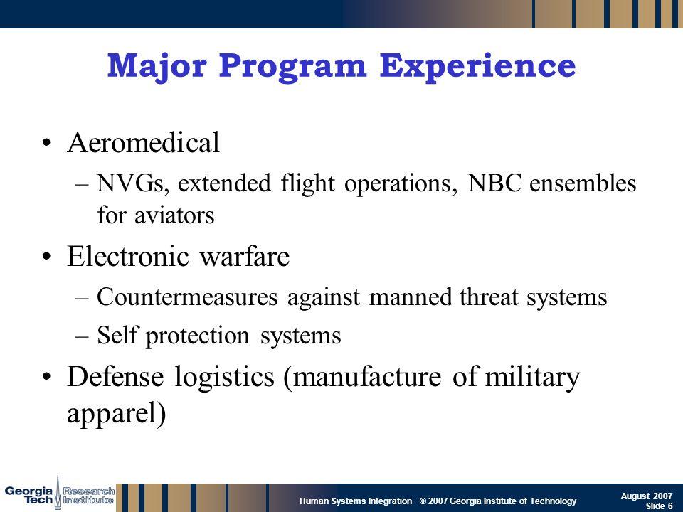 GTRI_B-6 Human Systems Integration © 2007 Georgia Institute of Technology August 2007 Slide 6 Major Program Experience Aeromedical –NVGs, extended fli