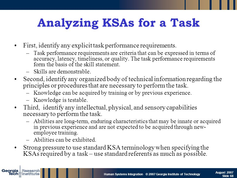 GTRI_B-68 Human Systems Integration © 2007 Georgia Institute of Technology August 2007 Slide 68 Analyzing KSAs for a Task First, identify any explicit