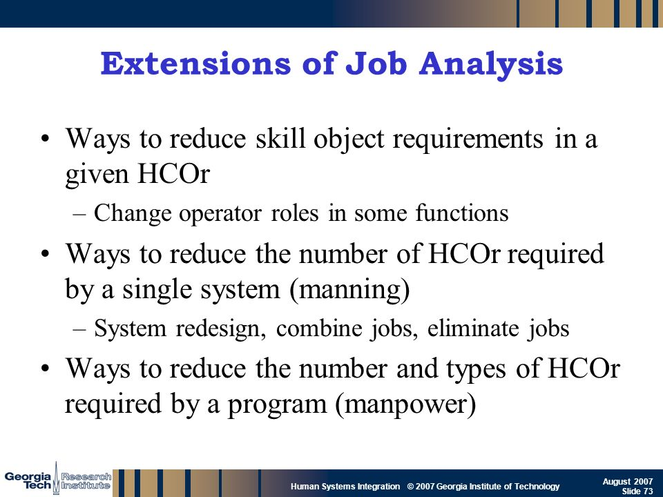 GTRI_B-73 Human Systems Integration © 2007 Georgia Institute of Technology August 2007 Slide 73 Extensions of Job Analysis Ways to reduce skill object