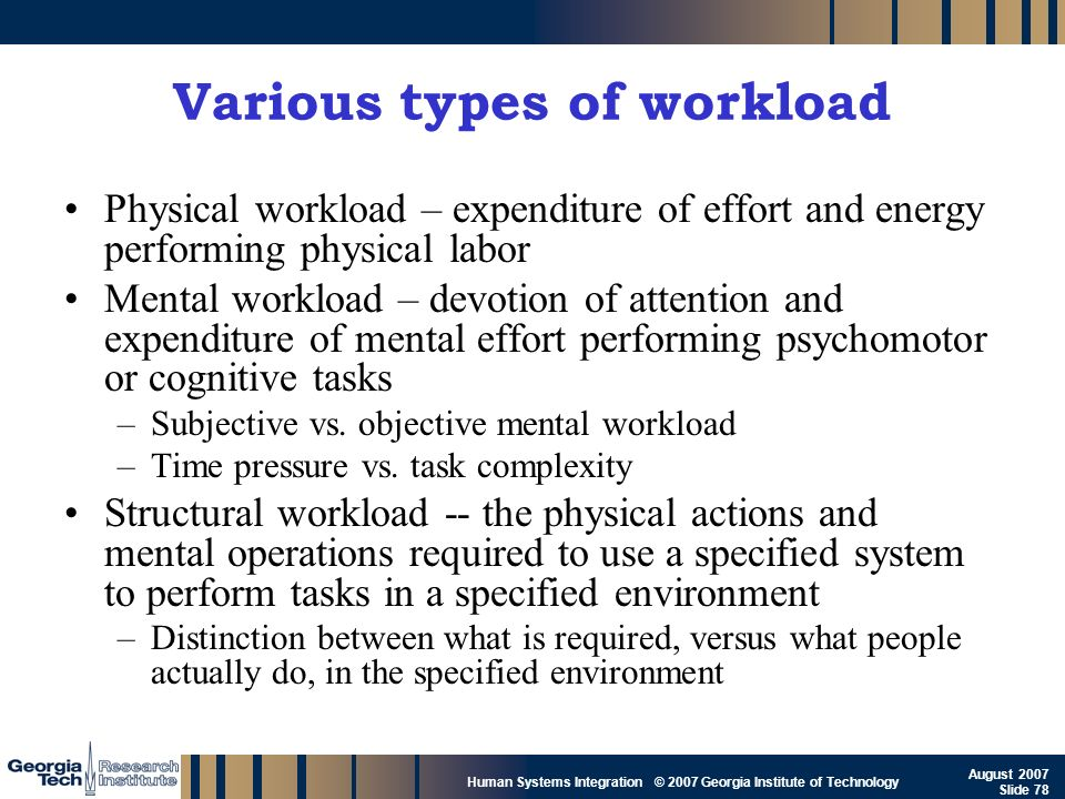 GTRI_B-78 Human Systems Integration © 2007 Georgia Institute of Technology August 2007 Slide 78 Various types of workload Physical workload – expendit