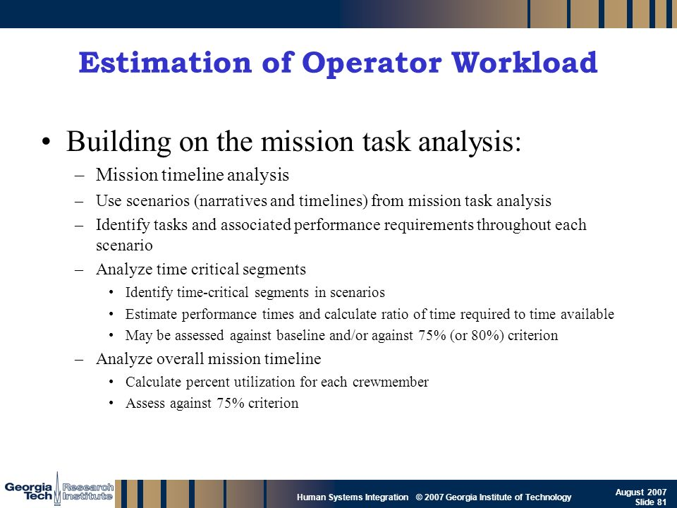 GTRI_B-81 Human Systems Integration © 2007 Georgia Institute of Technology August 2007 Slide 81 Estimation of Operator Workload Building on the missio