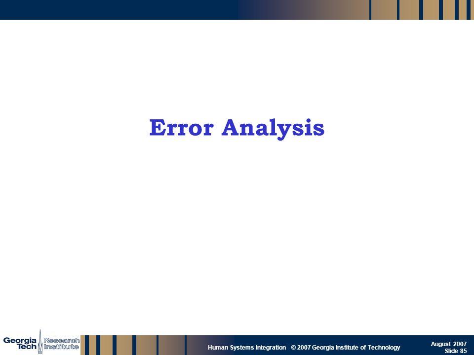 GTRI_B-85 Human Systems Integration © 2007 Georgia Institute of Technology August 2007 Slide 85 Error Analysis