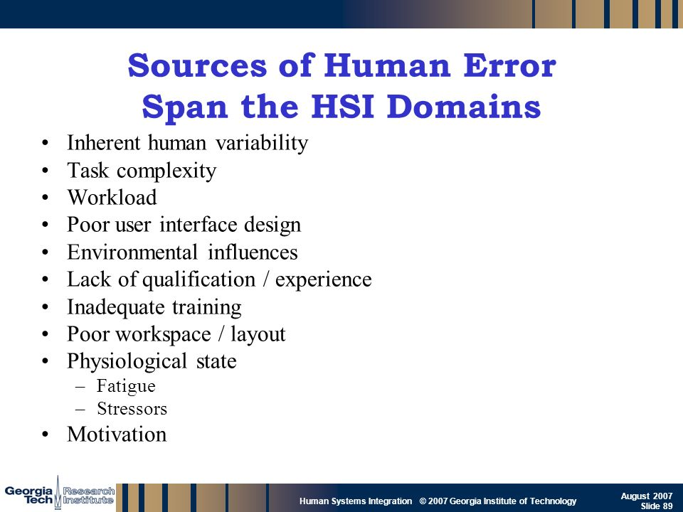 GTRI_B-89 Human Systems Integration © 2007 Georgia Institute of Technology August 2007 Slide 89 Sources of Human Error Span the HSI Domains Inherent h