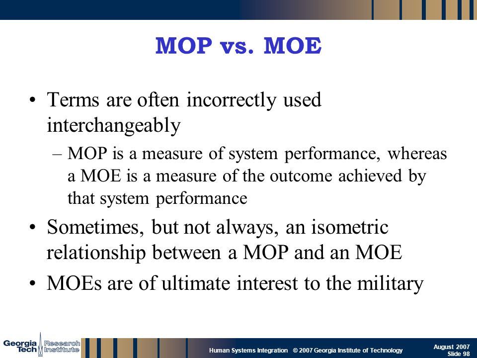 GTRI_B-98 Human Systems Integration © 2007 Georgia Institute of Technology August 2007 Slide 98 MOP vs. MOE Terms are often incorrectly used interchan