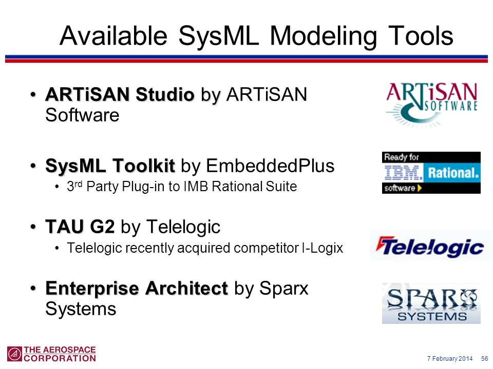 7 February 2014 56 Available SysML Modeling Tools ARTiSAN Studio byARTiSAN Studio by ARTiSAN Software SysML ToolkitSysML Toolkit by EmbeddedPlus 3 rd