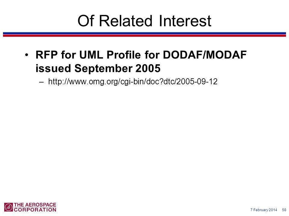 7 February 2014 58 Of Related Interest RFP for UML Profile for DODAF/MODAF issued September 2005 –http://www.omg.org/cgi-bin/doc?dtc/2005-09-12