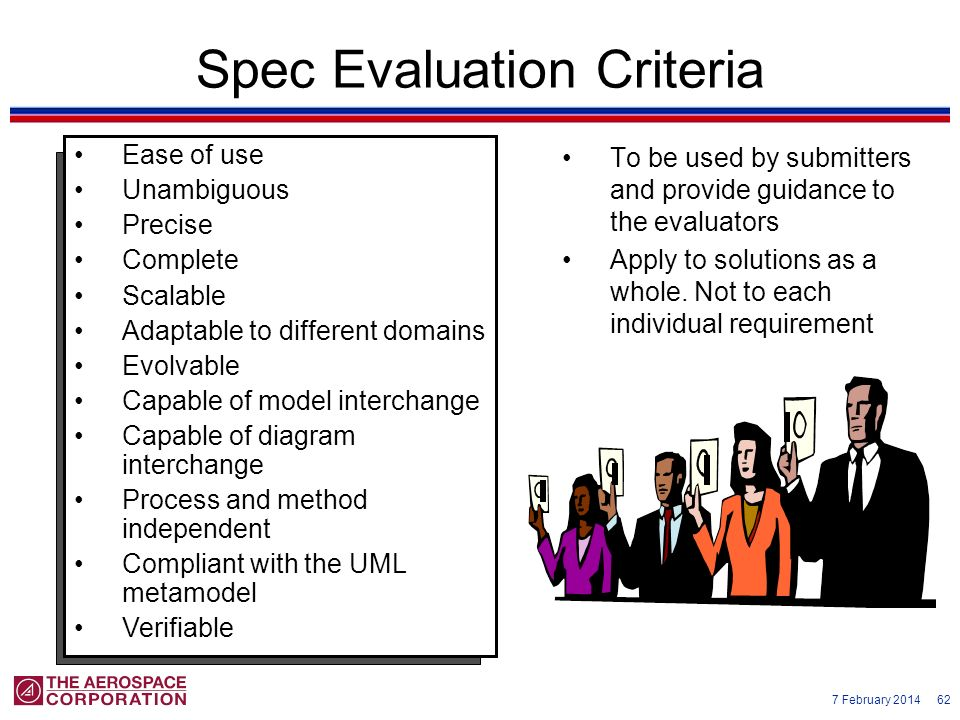 7 February 2014 62 Spec Evaluation Criteria To be used by submitters and provide guidance to the evaluators Apply to solutions as a whole. Not to each
