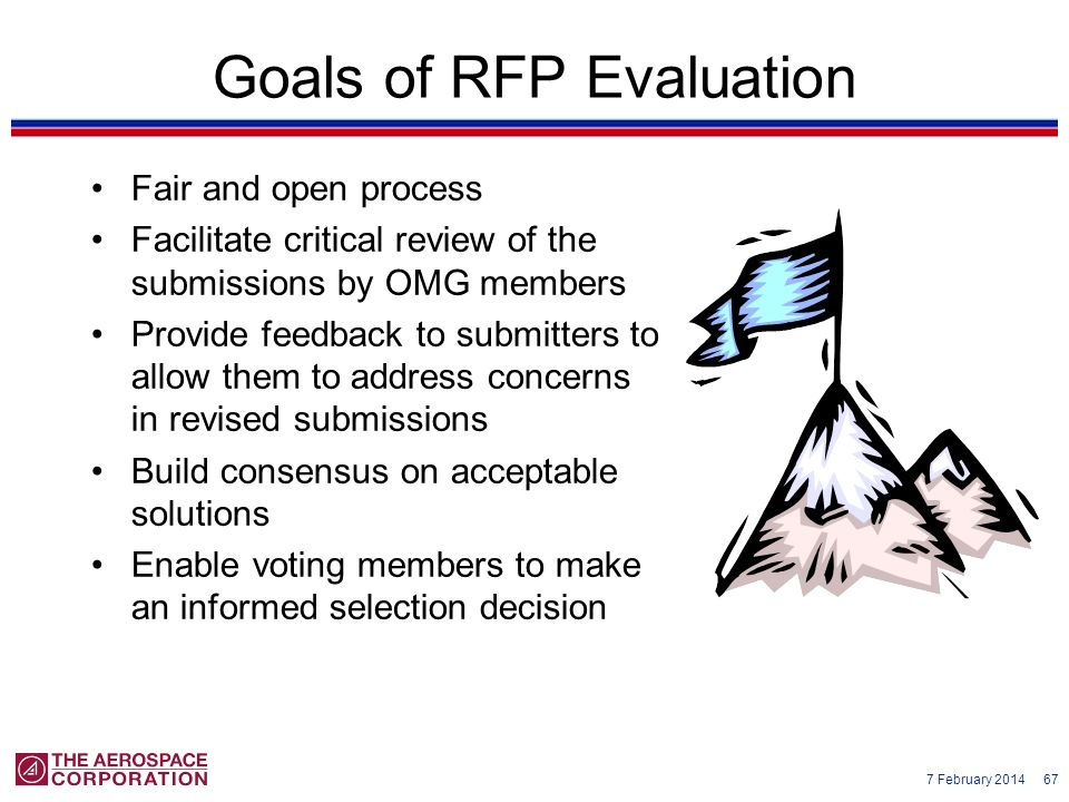 7 February 2014 67 Goals of RFP Evaluation Fair and open process Facilitate critical review of the submissions by OMG members Provide feedback to subm