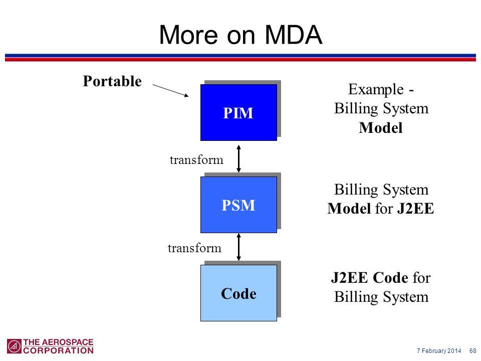 7 February 2014 68 More on MDA PIM PSM Code transform Portable Example - Billing System Model Billing System Model for J2EE J2EE Code for Billing Syst