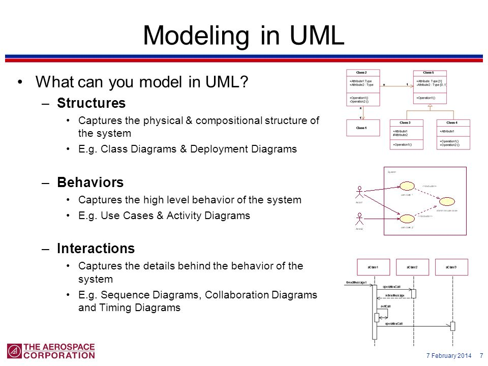 7 February 2014 7 Modeling in UML What can you model in UML? –Structures Captures the physical & compositional structure of the system E.g. Class Diag