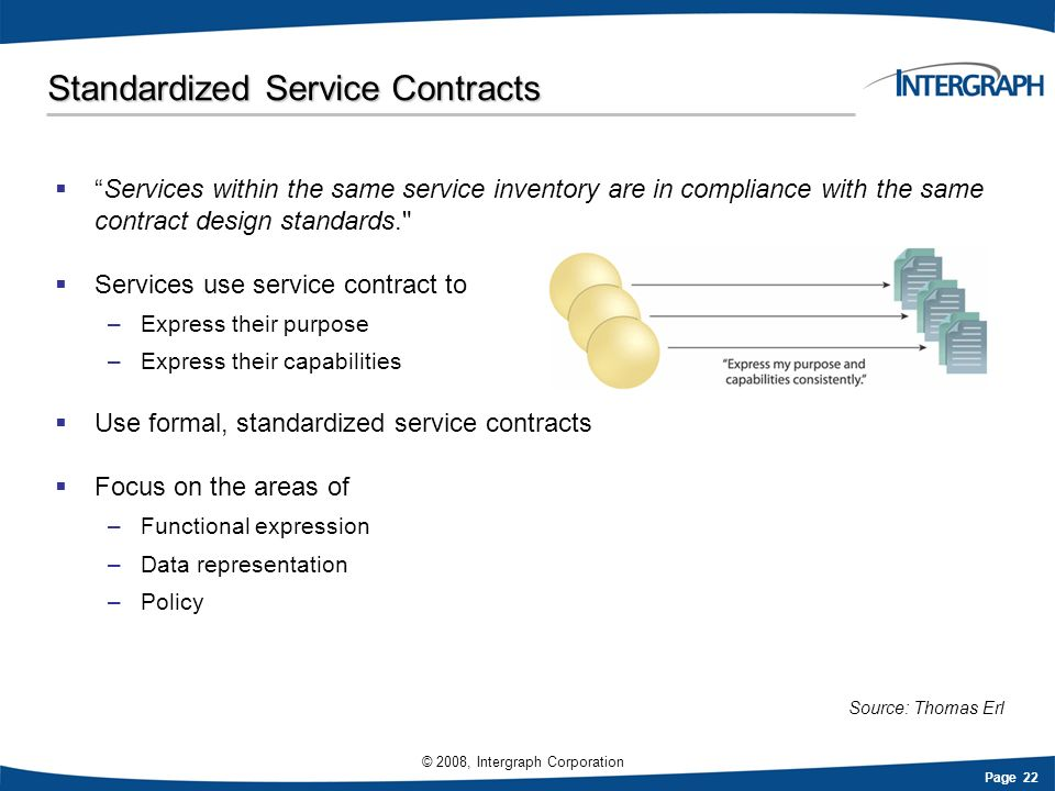 Page 22 © 2008, Intergraph Corporation Standardized Service Contracts Services within the same service inventory are in compliance with the same contr