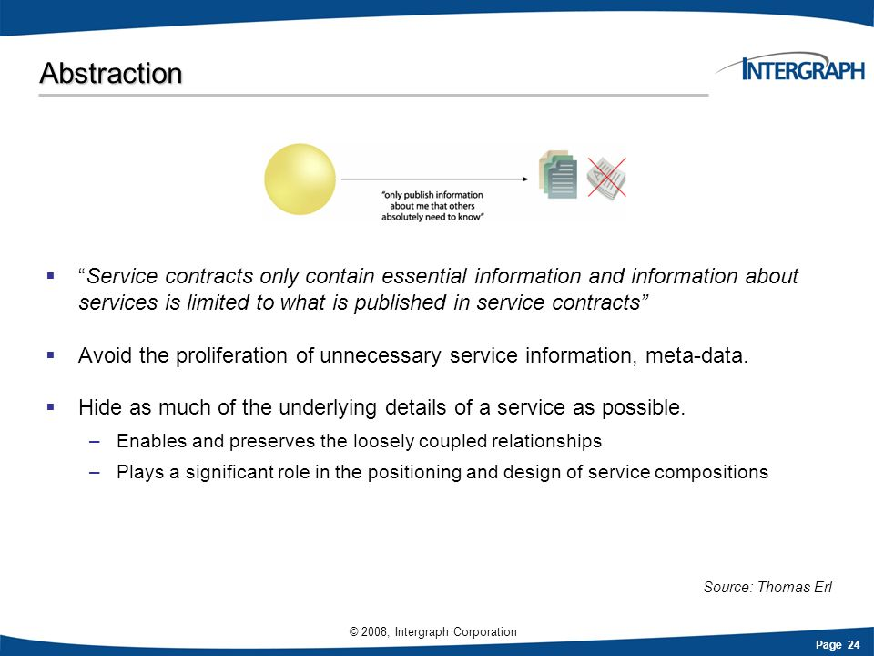 Page 24 © 2008, Intergraph Corporation Abstraction Service contracts only contain essential information and information about services is limited to w