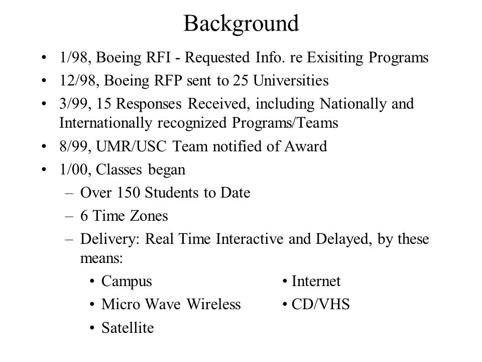 Background 1/98, Boeing RFI - Requested Info. re Exisiting Programs 12/98, Boeing RFP sent to 25 Universities 3/99, 15 Responses Received, including N