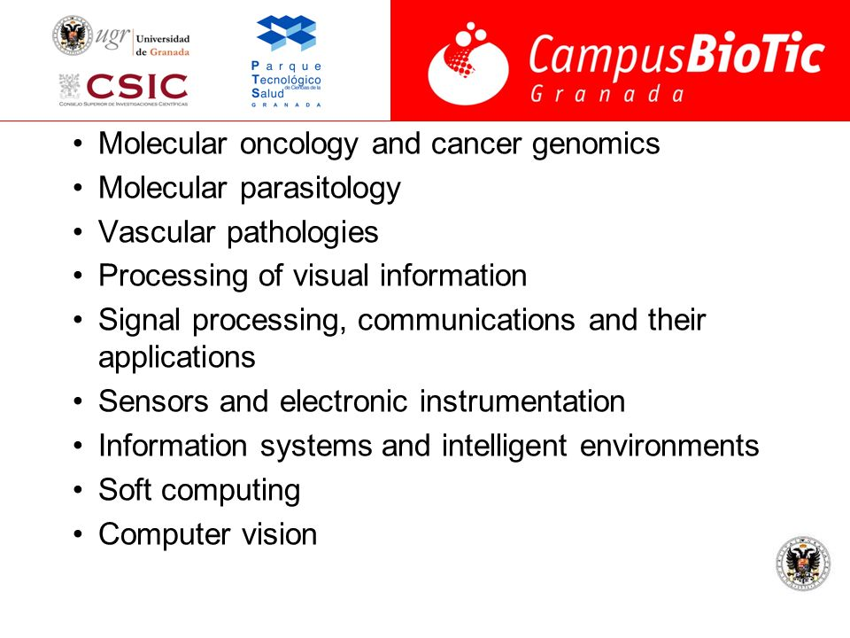 Molecular oncology and cancer genomics Molecular parasitology Vascular pathologies Processing of visual information Signal processing, communications