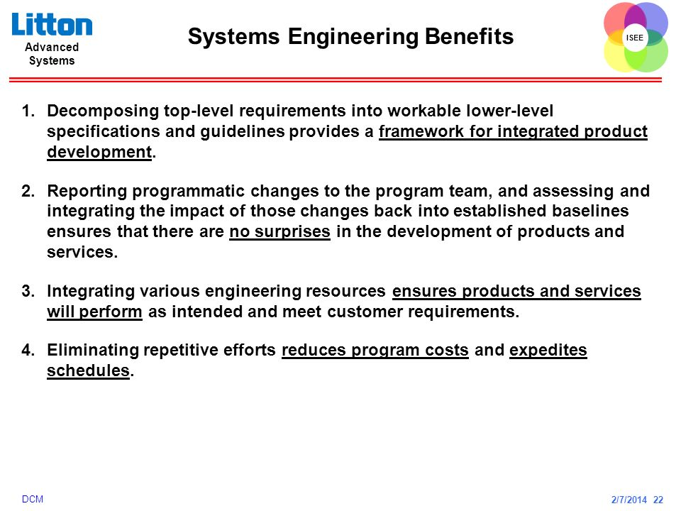 2/7/2014 22 ISEE Advanced Systems DCM Systems Engineering Benefits 1.Decomposing top-level requirements into workable lower-level specifications and g