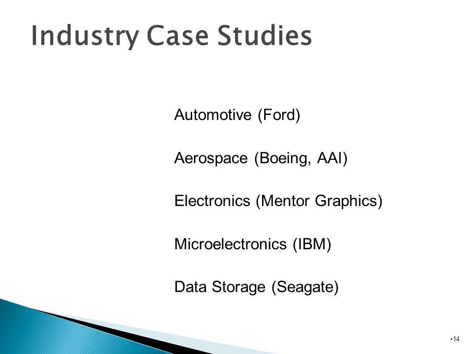 14 Biomedical Industry Case Studies Automotive (Ford) Aerospace (Boeing, AAI) Electronics (Mentor Graphics) Microelectronics (IBM) Data Storage (Seaga