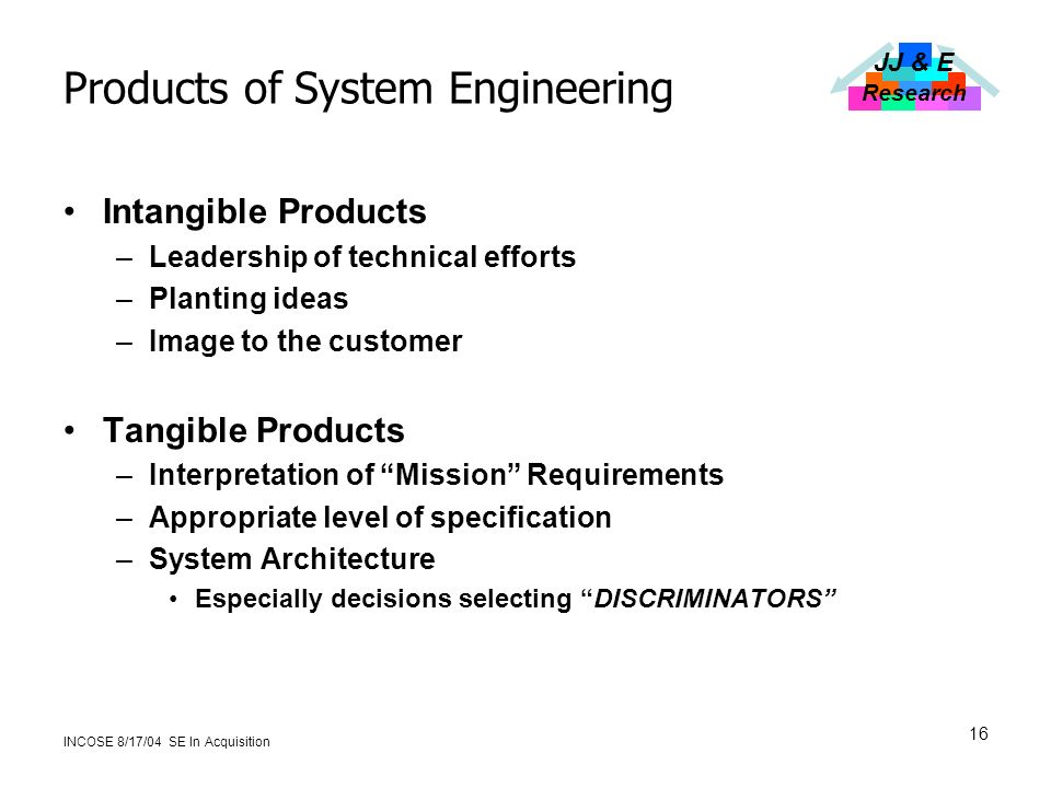 JJ & E Research INCOSE 8/17/04 SE In Acquisition 16 Products of System Engineering Intangible Products –Leadership of technical efforts –Planting ideas –Image to the customer Tangible Products –Interpretation of Mission Requirements –Appropriate level of specification –System Architecture Especially decisions selecting DISCRIMINATORS