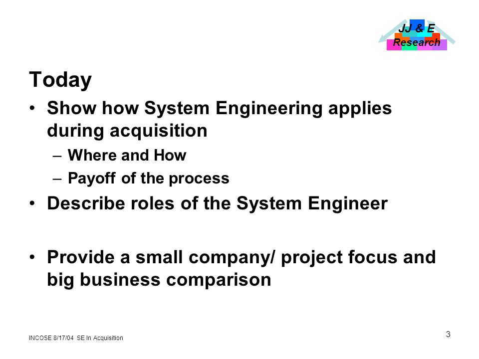 JJ & E Research INCOSE 8/17/04 SE In Acquisition 3 Today Show how System Engineering applies during acquisition –Where and How –Payoff of the process Describe roles of the System Engineer Provide a small company/ project focus and big business comparison