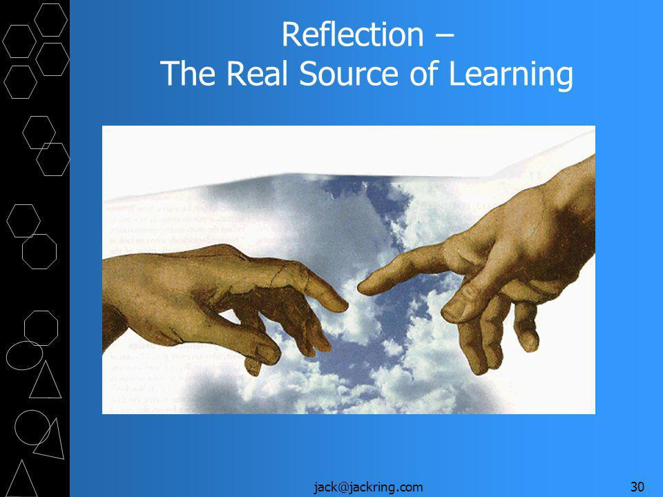 jack@jackring.com30 Reflection – The Real Source of Learning