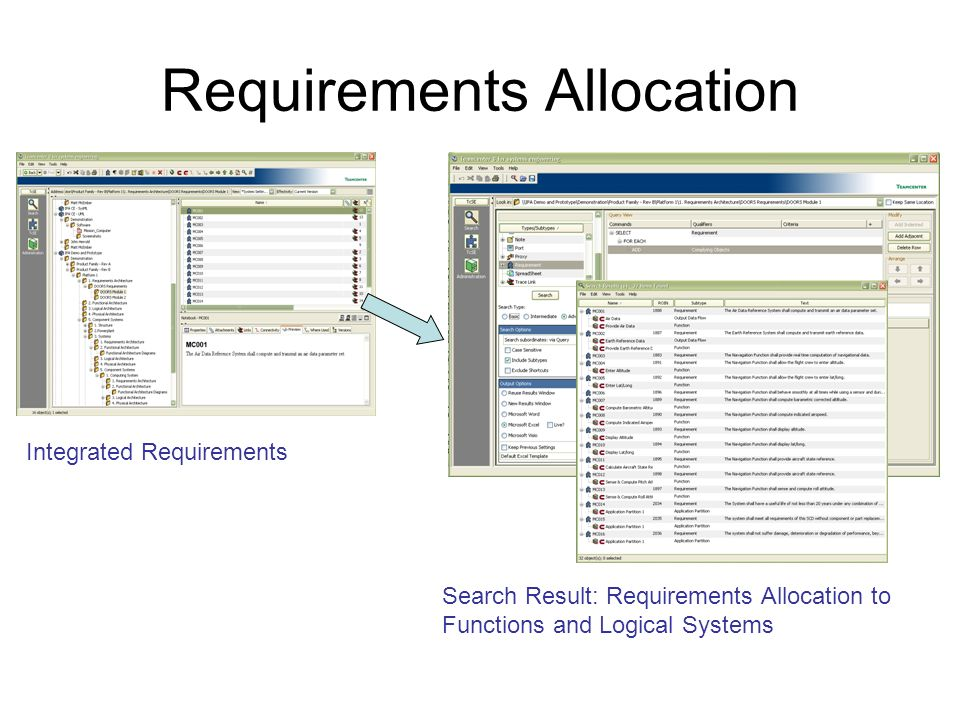 Requirements Allocation Integrated Requirements Search Result: Requirements Allocation to Functions and Logical Systems