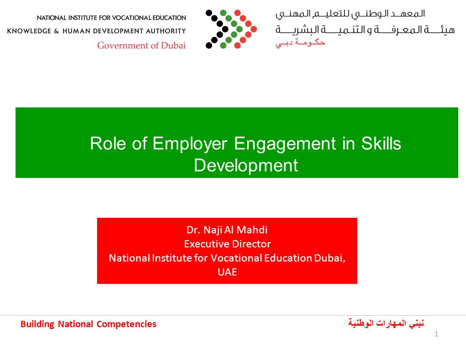 Building National Competencies نبني المهارات الوطنية Building National Competencies نبني المهارات الوطنية 1 Role of Employer Engagement in Skills Development Dr.