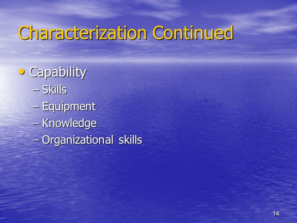 14 Characterization Continued Capability Capability –Skills –Equipment –Knowledge –Organizational skills