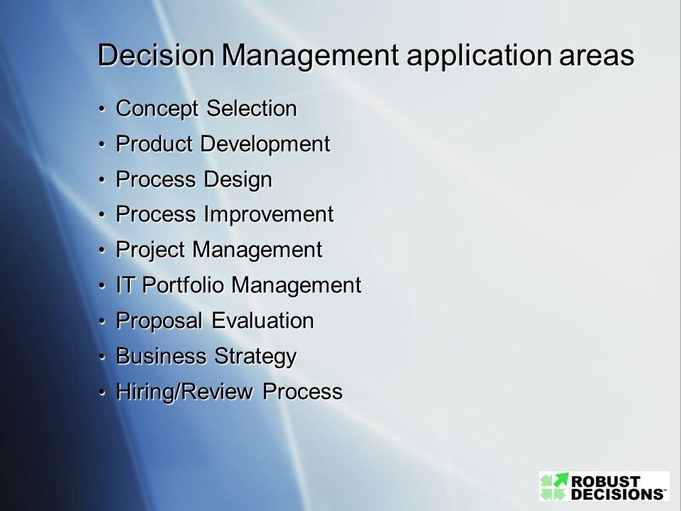 Decision Management application areas Concept Selection Concept Selection Product Development Product Development Process Design Process Design Proces