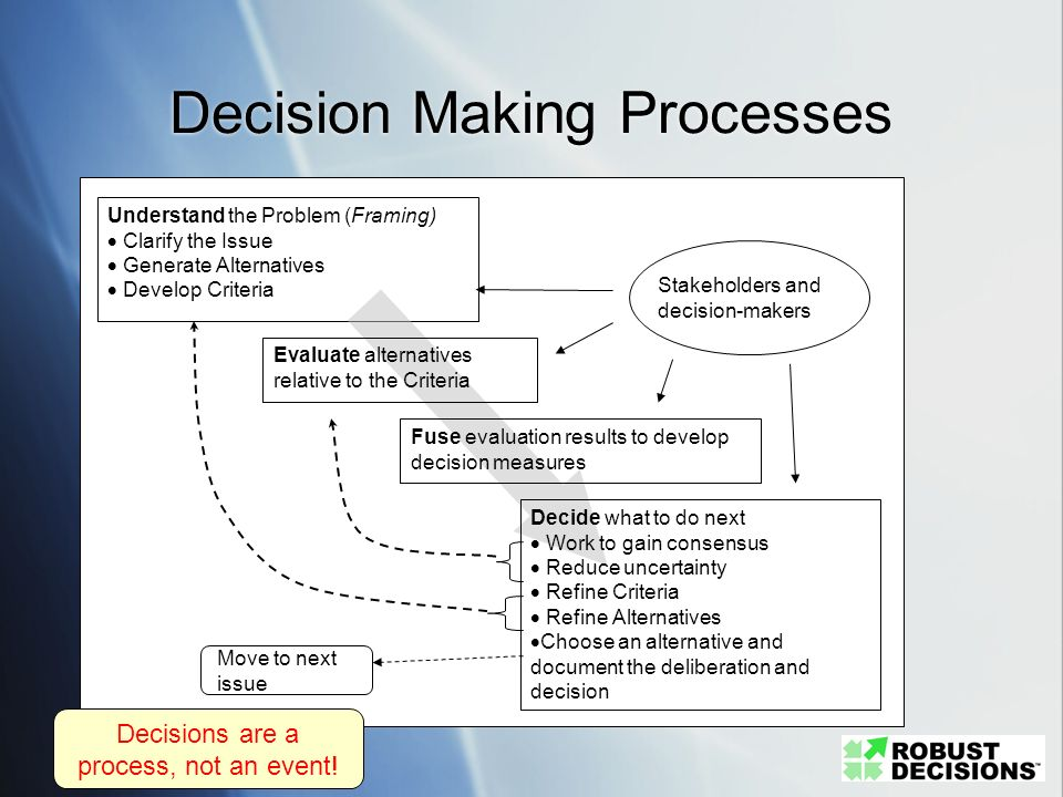 Decision Making Processes Understand the Problem (Framing) Clarify the Issue Generate Alternatives Develop Criteria Evaluate alternatives relative to