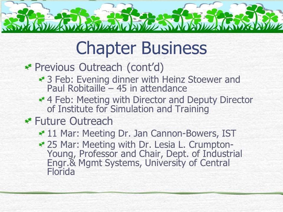 Upcoming Chapter Meetings Albert Sismour, Siemens Steam Turbine Division – 21 April 05 Dr.