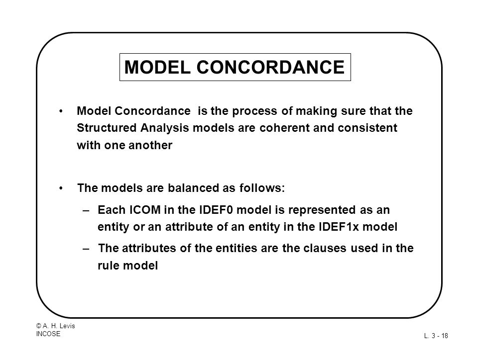 © A. H. Levis INCOSE L. 3 - 18 MODEL CONCORDANCE Model Concordance is the process of making sure that the Structured Analysis models are coherent and