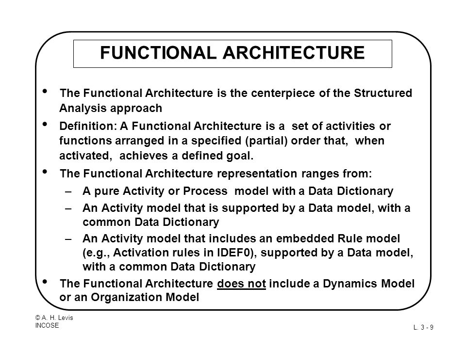 © A. H. Levis INCOSE L. 3 - 9 FUNCTIONAL ARCHITECTURE The Functional Architecture is the centerpiece of the Structured Analysis approach Definition: A