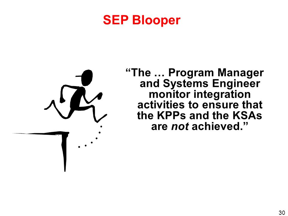 30 SEP Blooper The … Program Manager and Systems Engineer monitor integration activities to ensure that the KPPs and the KSAs are not achieved.