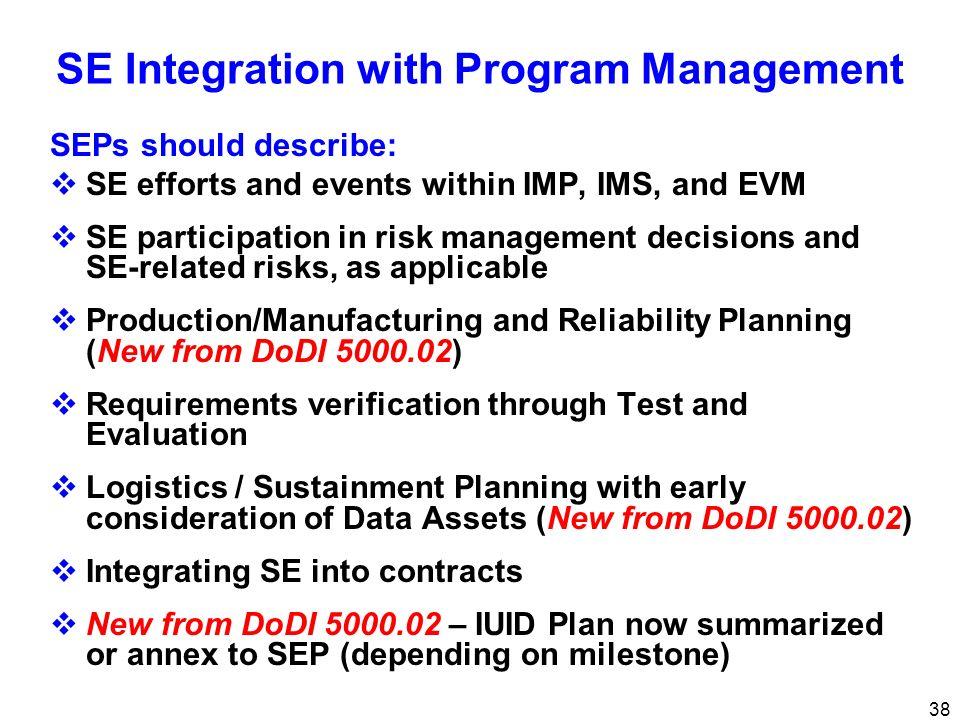 38 SE Integration with Program Management SEPs should describe: SE efforts and events within IMP, IMS, and EVM SE participation in risk management dec