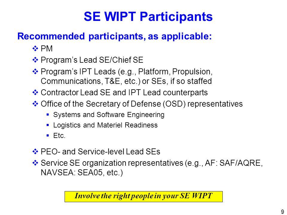 9 SE WIPT Participants Recommended participants, as applicable: PM Programs Lead SE/Chief SE Programs IPT Leads (e.g., Platform, Propulsion, Communica