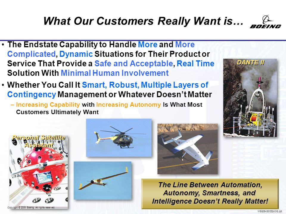 Copyright © 2005 Boeing. All rights reserved. MSG06-081332-017.ppt Focused on the Wrong Thing Debates About Intelligence Are Interesting But They Dont