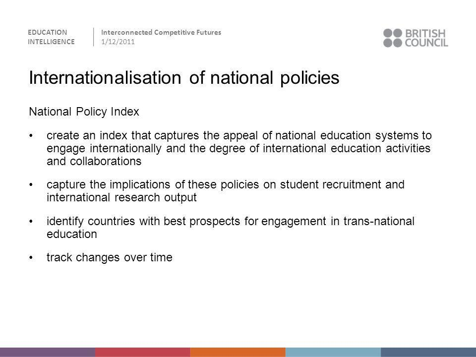 EDUCATION INTELLIGENCE Interconnected Competitive Futures 1/12/2011 Internationalisation of national policies National Policy Index create an index th