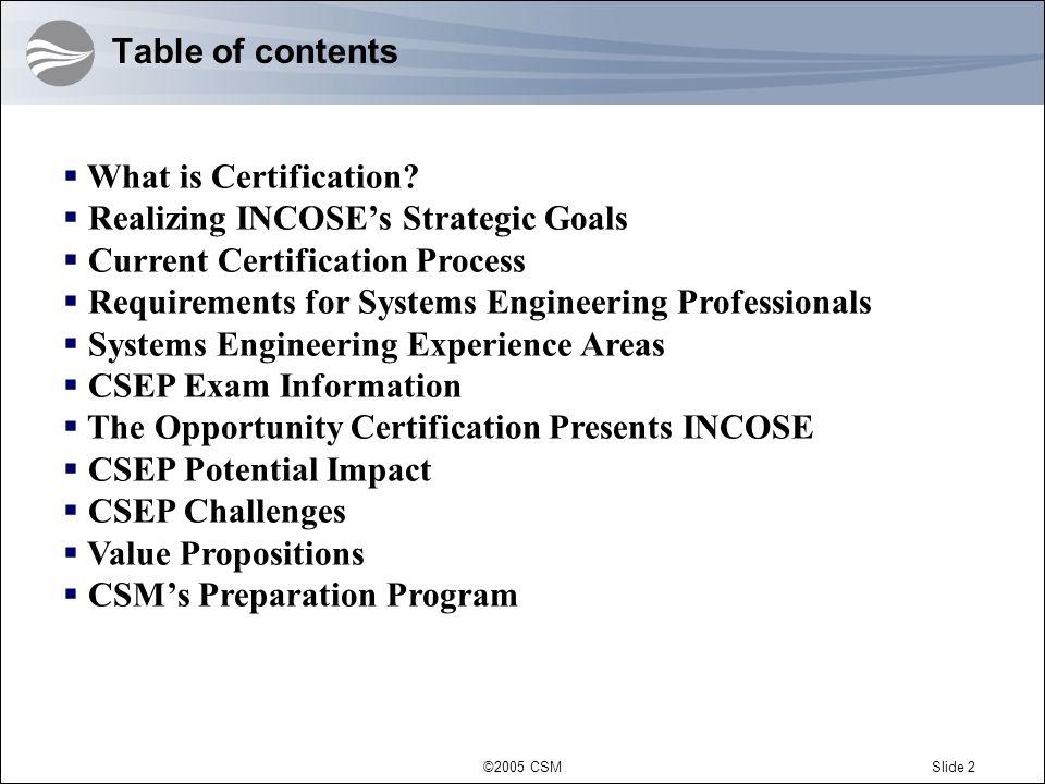 ©2005 CSMSlide 3 What is Certification.
