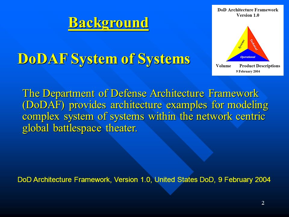 1 Object Oriented Development For DoDAF System of Systems Stanley P. Stanilka The Boeing Company Integrated Defense Systems stanley.p.stanilka@boeing.
