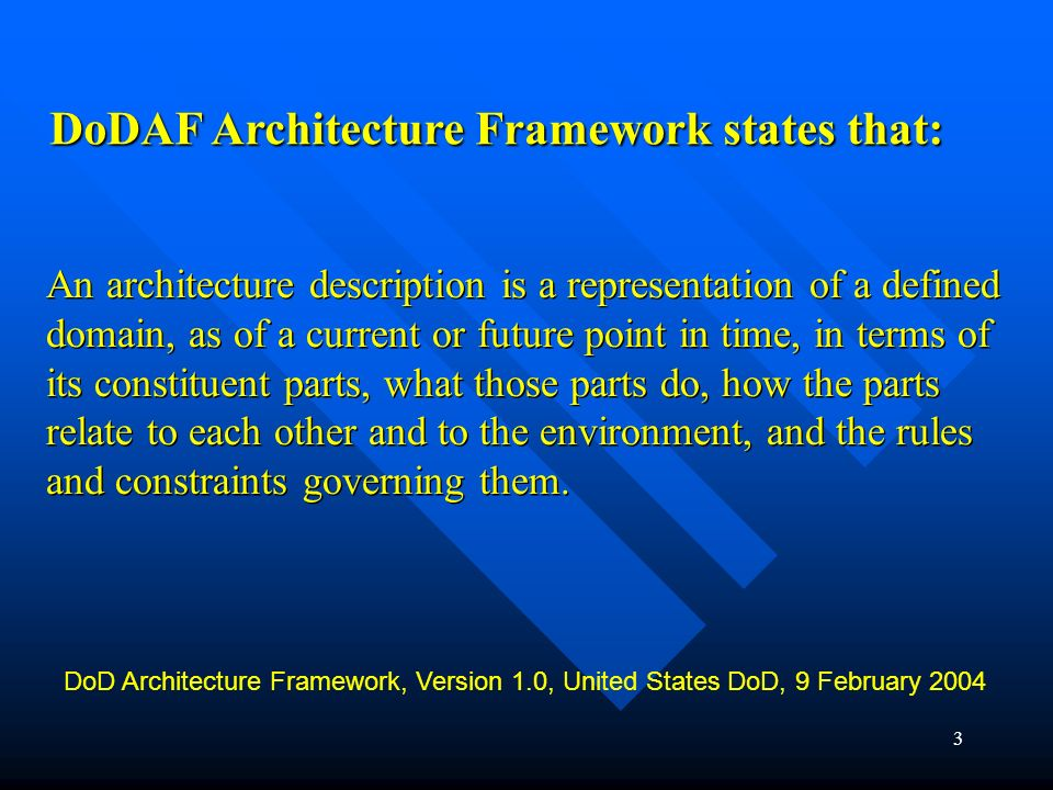 2 DoDAF System of Systems The Department of Defense Architecture Framework (DoDAF) provides architecture examples for modeling complex system of syste