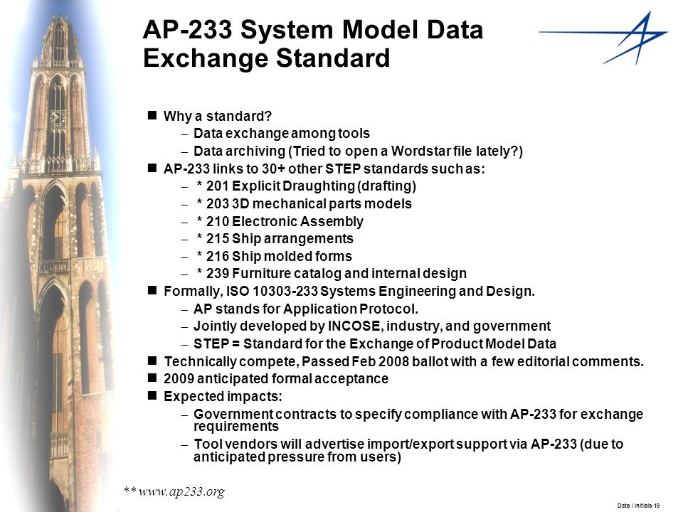 Date / Initials-19 AP-233 System Model Data Exchange Standard Why a standard? Data exchange among tools Data archiving (Tried to open a Wordstar file