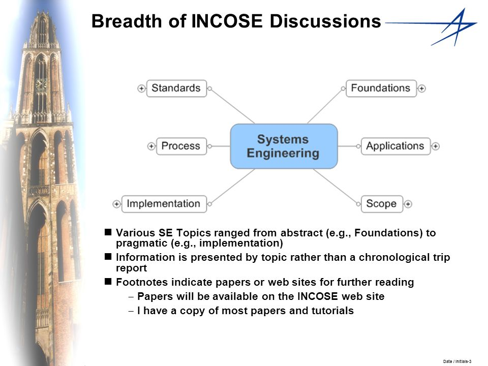 Date / Initials-3 Breadth of INCOSE Discussions Various SE Topics ranged from abstract (e.g., Foundations) to pragmatic (e.g., implementation) Informa