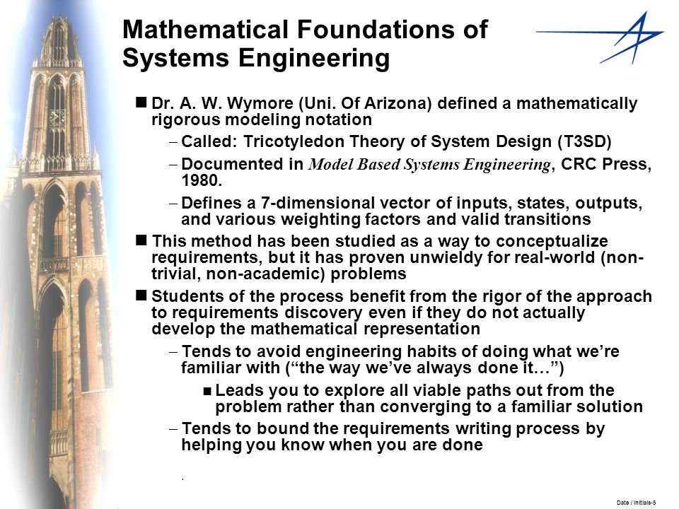 Date / Initials-5 Mathematical Foundations of Systems Engineering Dr. A. W. Wymore (Uni. Of Arizona) defined a mathematically rigorous modeling notati