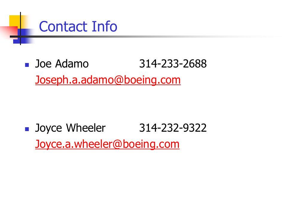 Contact Info Joe Adamo 314-233-2688 Joseph.a.adamo@boeing.com Joyce Wheeler314-232-9322 Joyce.a.wheeler@boeing.com