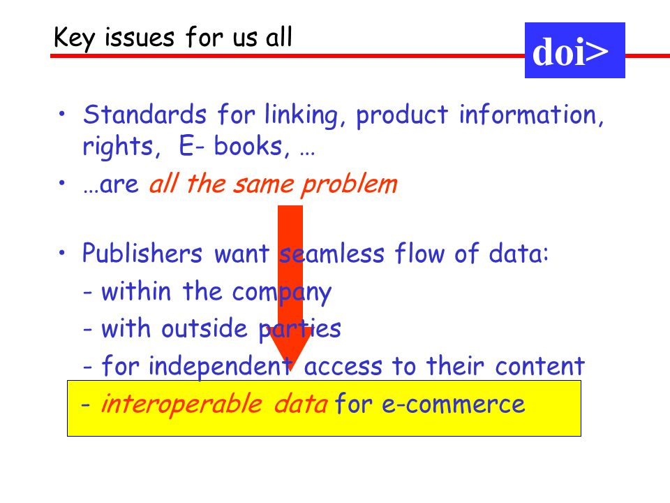 doi> Priorities for 2001 Stated priorities were: Marketing: get the message out Firm up, and scale up, the operational foundations: make commercial –(1) Generic tools, (2) RA appointments Business development - expansion to other sectors, applications Fit into the bigger picture: Rights, etc –as much as possible, by leveraging other efforts rather than doing it ourselves: indecs 2, interparty, Handle AC