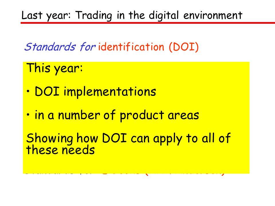 DOI Update 2001 doi> DOI commercial implementations