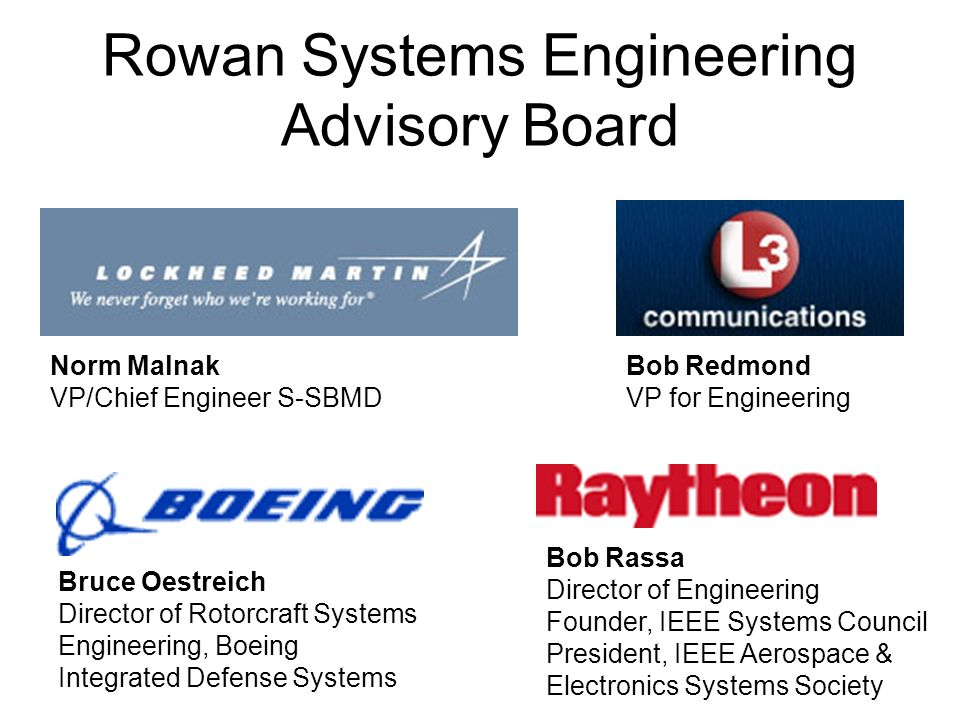 Rowan Systems Engineering Advisory Board Bob Rassa Director of Engineering Founder, IEEE Systems Council President, IEEE Aerospace & Electronics Systems Society Norm Malnak VP/Chief Engineer S-SBMD Bob Redmond VP for Engineering Bruce Oestreich Director of Rotorcraft Systems Engineering, Boeing Integrated Defense Systems