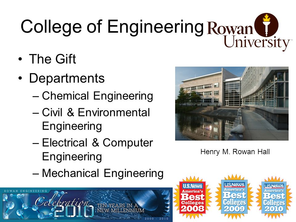 College of Engineering The Gift Departments –Chemical Engineering –Civil & Environmental Engineering –Electrical & Computer Engineering –Mechanical Engineering Henry M.