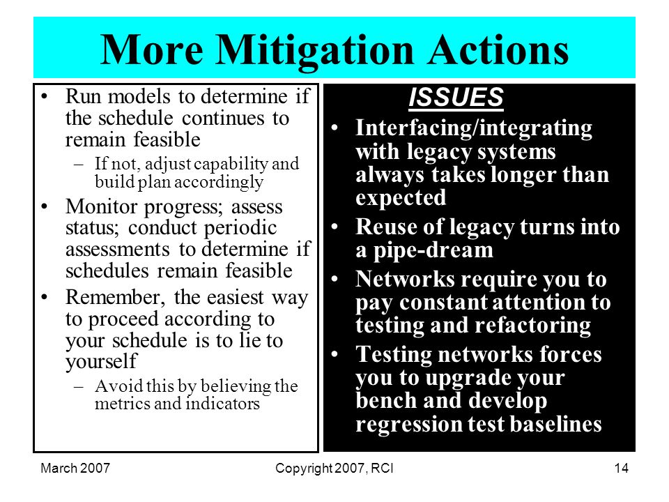 March 2007Copyright 2007, RCI14 More Mitigation Actions Run models to determine if the schedule continues to remain feasible –If not, adjust capabilit