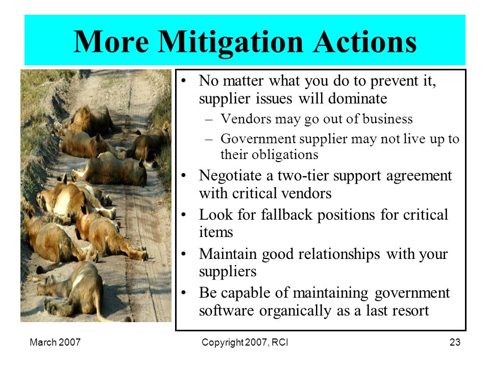 March 2007Copyright 2007, RCI23 More Mitigation Actions No matter what you do to prevent it, supplier issues will dominate –Vendors may go out of busi