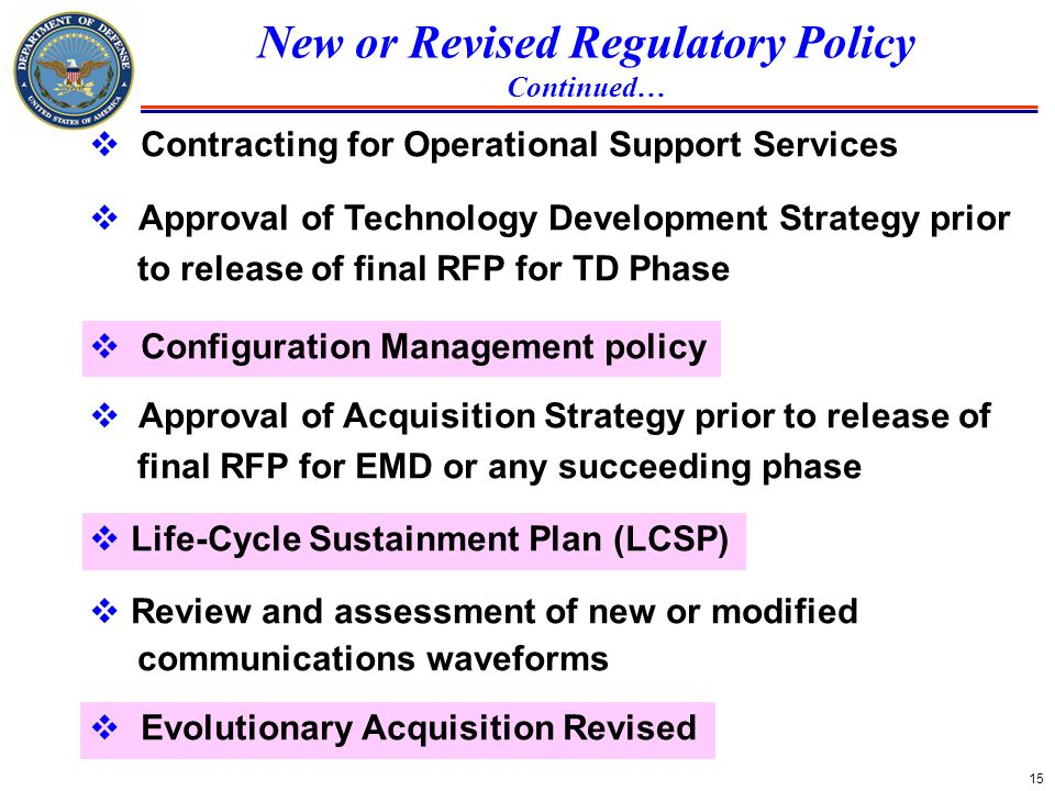 15 New or Revised Regulatory Policy Continued… Contracting for Operational Support Services Approval of Technology Development Strategy prior to relea